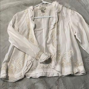 Neiman Marcus Exclusive white linen top
